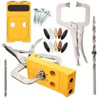 Mini Kieszeni Dziura Jig Zestaw System Do Obróbki Drewna i Stolarka + krok wiertło & akcesoria drewna pracy zestaw narzędzi power tools zestawy
