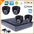 XINFI 4CH Sistema de Vigilância Em Casa Sistema de Kit de Câmera de Segurança IP PoE NVR com 4 Cúpula Interior Câmera IP PoE 720 P 1MP P2P 24 IR DIODO EMISSOR de luz