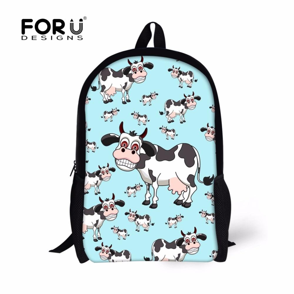 FORUDESIGNS Cute Cow Dog Printing Backpack for Teenager Girls Boys,Animal Kids 16inch Backpacks,Kawaii Children Rucksack Bagpack