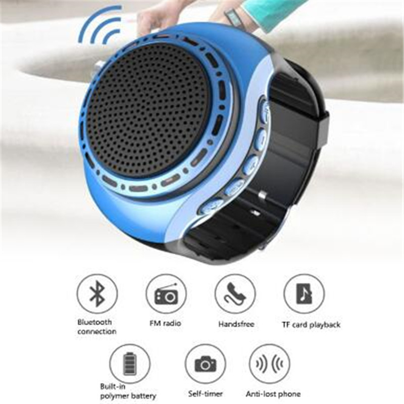 Outdoor Speakers 10pcs/lot U6 Bluetooth Speaker Super Bass Wireless Wristband Smart Watch Sport Music Player For Iphone Samsung Pk A9 T2 T6 Sc208