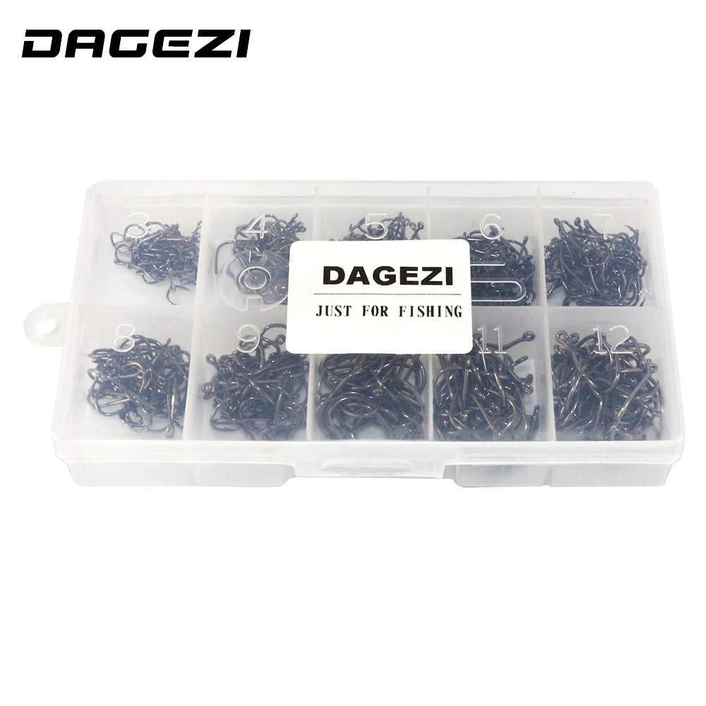 DAGEZI 500 יח'\קופסא גודל #3-#12 גבוהה פחמן פלדת מעגל בעל דיג ווי סט מים מתוקים קרס סטים חזק דגי דיג 79 #