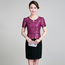 2016 Upscale Mother Patchwork Lace Dress Middle Aged Women Short Sleeve Casual Straight O neck Luxury