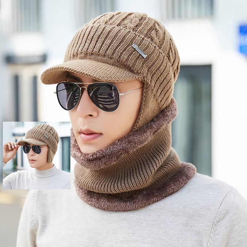 2019 Winter Ring Scarf Hat Set Men Classic Winter Warm Hats Scarves Men Unisex Kitted Warm Winter Hat Female Set