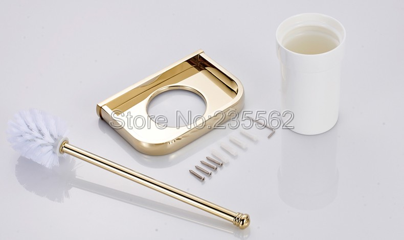 Gold Color Brass Wall Mounted Toilet Brush Holder with Ceramic Cup Set / Bathroom Accessory lba845