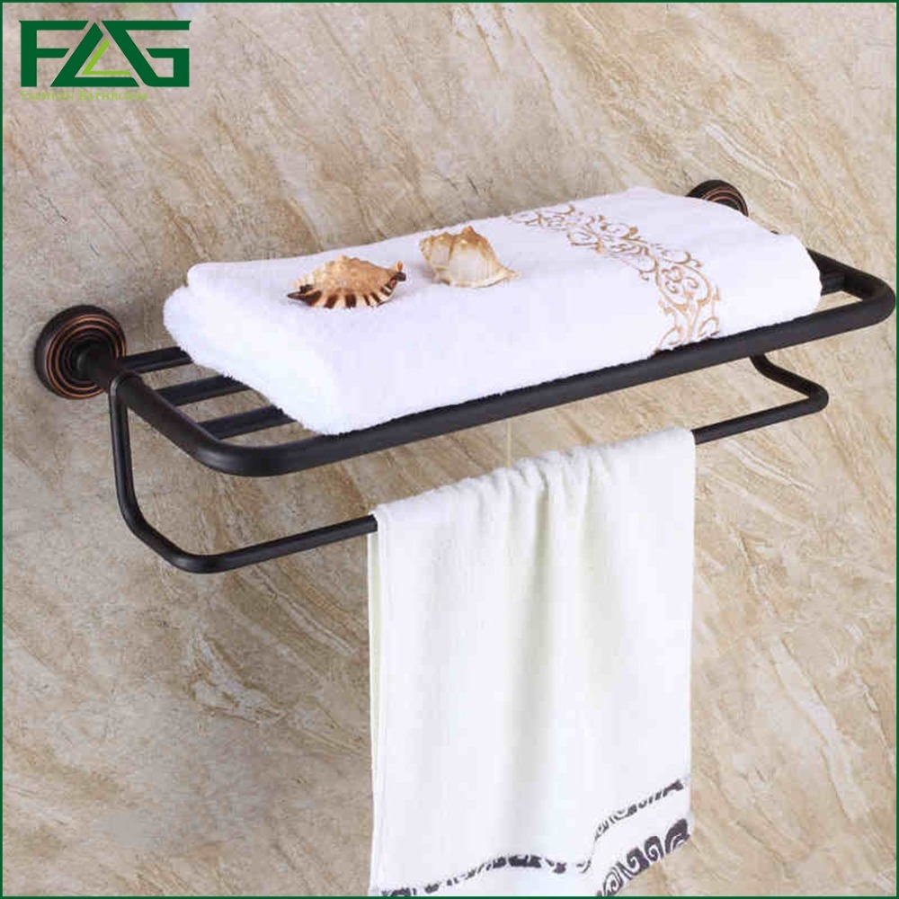 FLG New Arrival Fashion Oil Rubbed Towel Rack Shelf Bathroom Accessories Luxury Bath Towel Holder Toilet Free Shipping G601 allen roth brinkley handsome oil rubbed bronze metal toothbrush holder