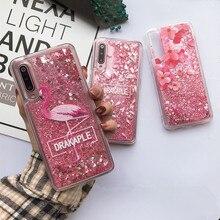 Glitter Pink Heart Liquid Flamingo Pattern Quicksand Case For Xiaomi Redmi Mi Note 4A 4X 5 5A 6 6A 7 8 9 Pro Lite Pocophone F1