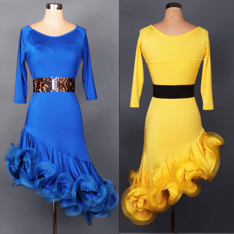 Kvinnor Latin Dance Dress With Belt Anpassningsbar Färg / Storlek Salsa Cha Cha Rumba Latin Kläder Dans Jurken Danca Latina Vestidos