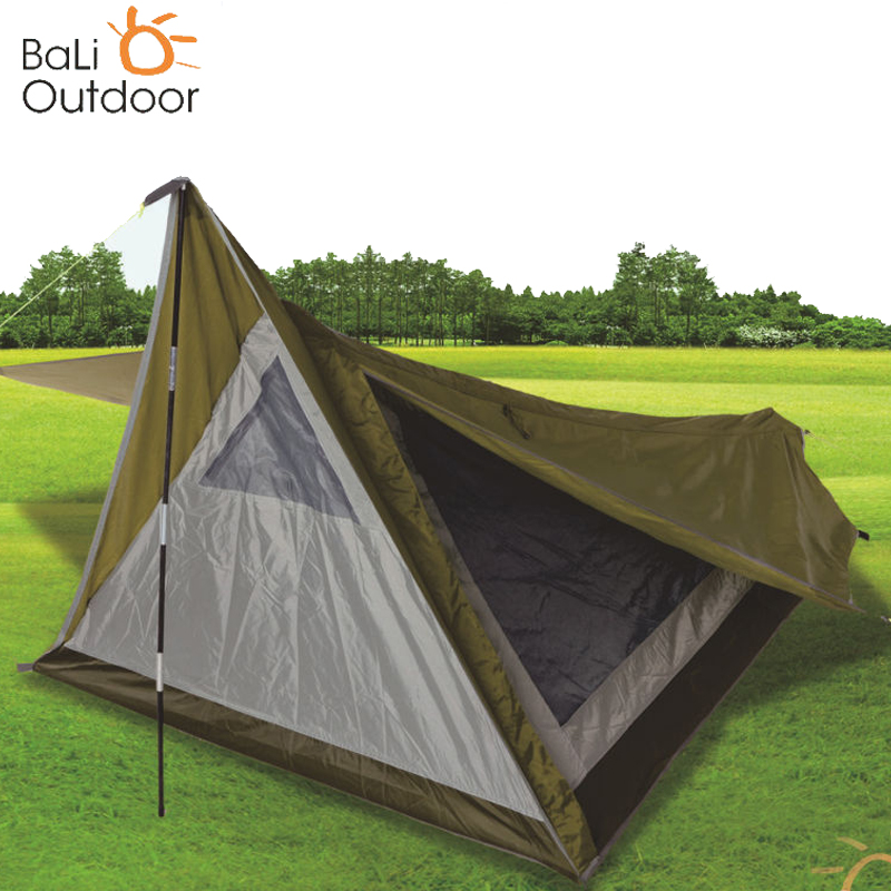 Outdoor Tourist Hiking Tents 1 Person Waterproof Camping Tent Double layer Single Rod Support Lightweight Tent Beach Fishing brand 1 2 person outdoor camping tent ultralight hiking fishing travel double layer couples tent aluminum rod lovers tent