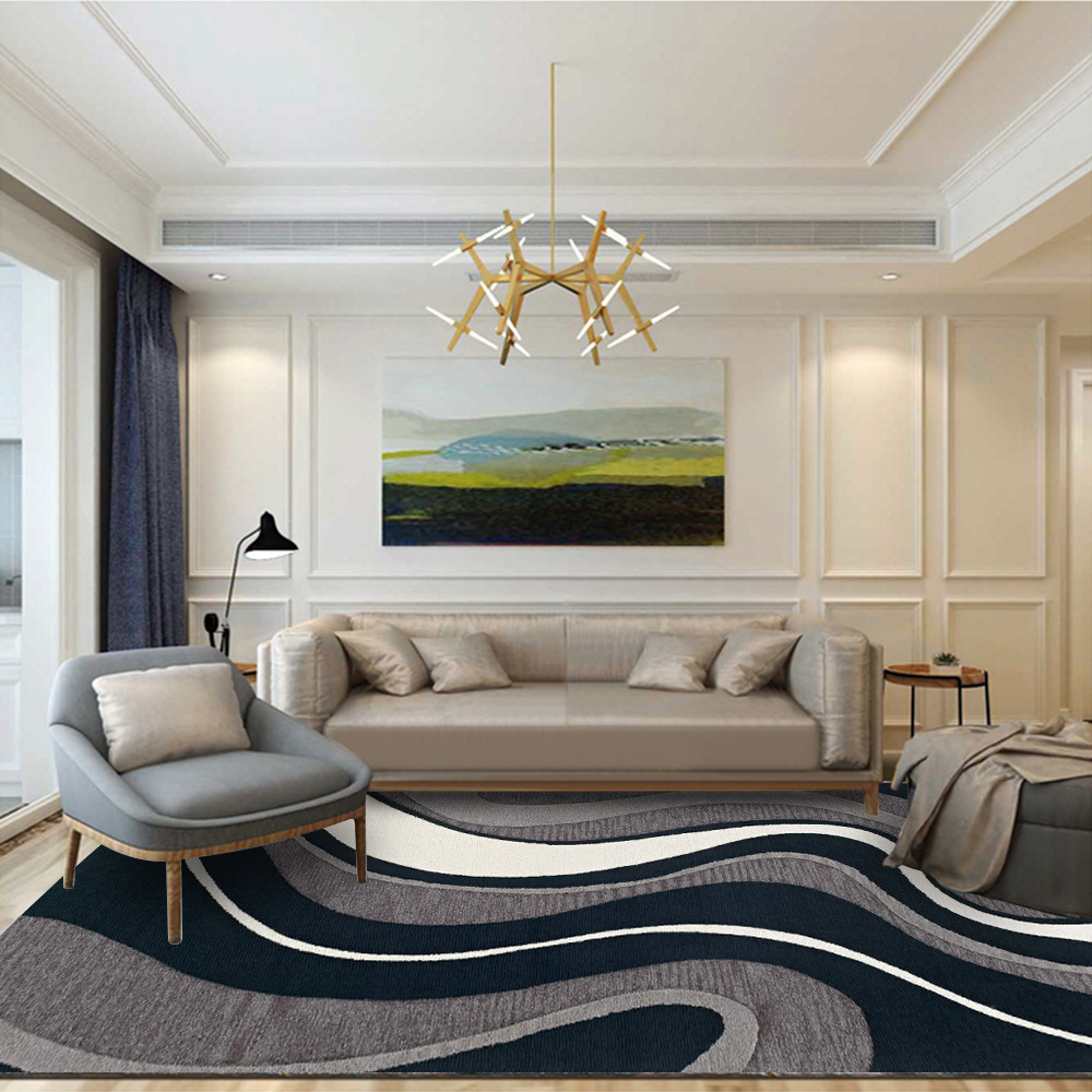 Living Room Black White Line Carpet Modern Simple Bedroom Area