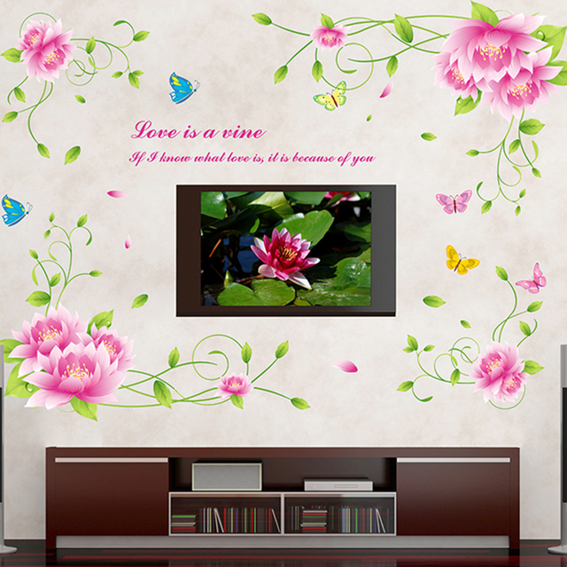 Lotus Flower Wall Stickers Removable Pvc Hall Tv Wall Sticker