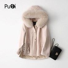 PUDI A17096 Real wool Long coat jacket overcoat women's winter warm genuine fox fur hood winter warm coat