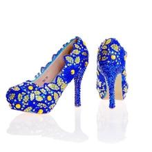 Синий Кружева Цветок Обувь Блеск Свадебные Туфли Синий Горный Хрусталь Высокий Каблук Свадебные Туфли Ручной Работы Леди Формальные Платья Обувь Плюс Размер