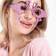 Funny Flamingo Shape Party Glasses Decoration Glitter Decor Eyeglasses Party Masquerade Accessories (Pink)(China)