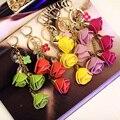 Роза Металла Брелок Сумка Подвеска Автомобиля Украшения Творческие Подарки Мешок кожа Цветок Шарм Брелок Пряжка Брелок 13 Цветов F9