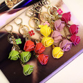 Rose Metal Keychain Bag Pendant Car Ornaments Creative Gifts Bag Leather Flower Charm Key Chain Buckle Key Ring 13 Colors F9
