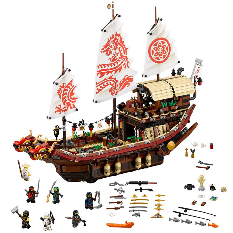 New 10723 Ninja series The Destiny's Bounty Model Building Blocks set Compatible 70618 classic ship education Toys for children wange 8011 new famous architecture series the kuala lampur petronas tower 3d model building blocks classic toys for children