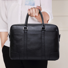 TIANHOO 14 inch laptop genuine leather messenger bag business Sewing thread handlebags male's totes