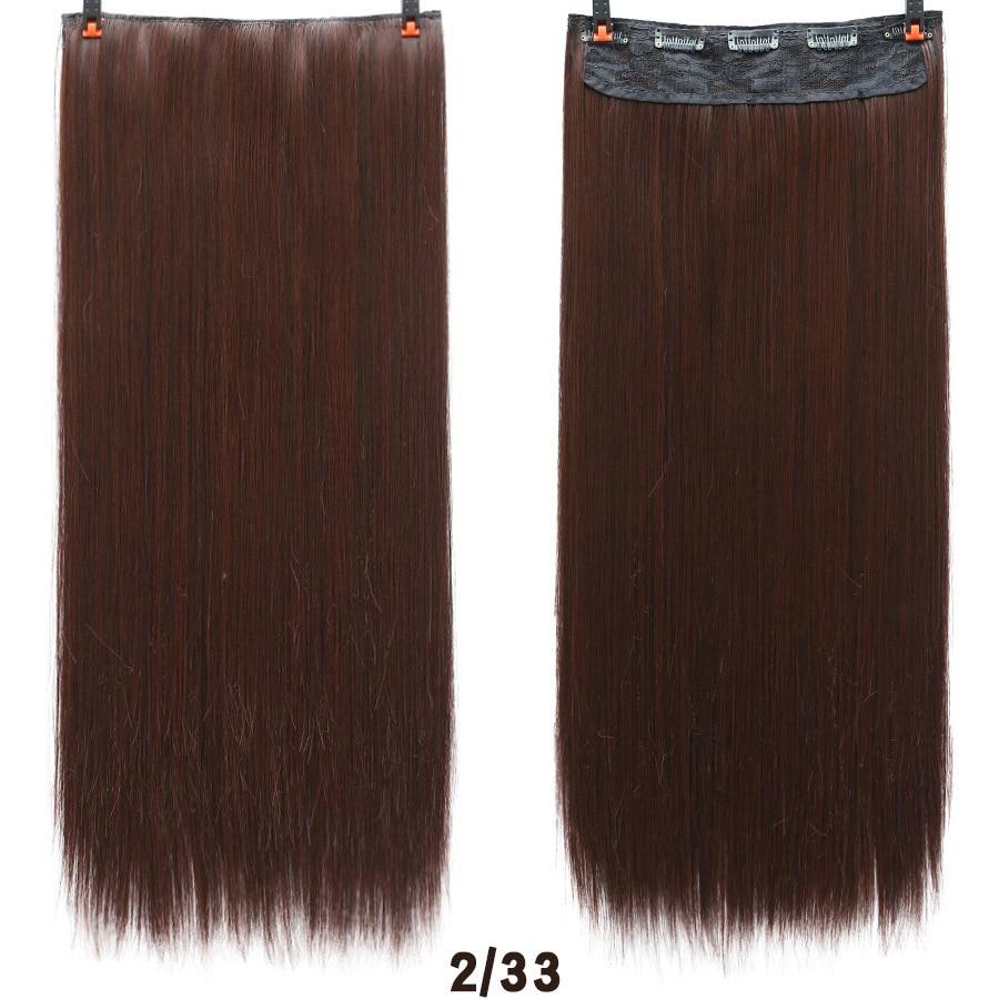 SHANGKE волосы 24 ''длинные прямые женские волосы на заколках для наращивания черный коричневый высокая температура Синтетические волосы кусок - Цвет: 2M33