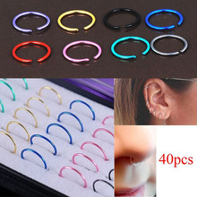 40PCS/Set Body Nose Lip Hoop Rings Punk Clip On Ear Without