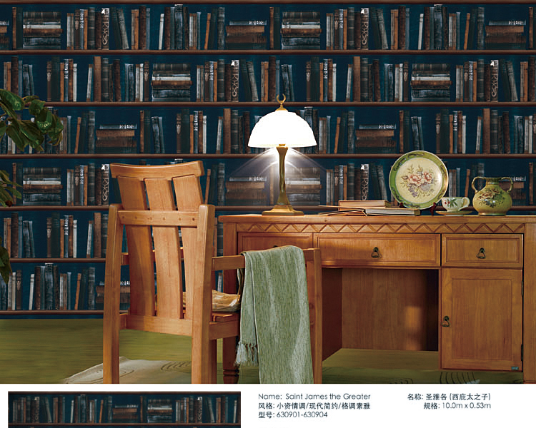 Aliexpress 0 53 10m Vintage Bookcase Book Pattern Wallpaper Living Room Background Wall Study Freeshipping From Reliable Stick
