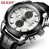 OLEVS Sport Military Quartz Watch For Men Steel Case Leather Strap Chronograph Date Male Waterproof Aviator