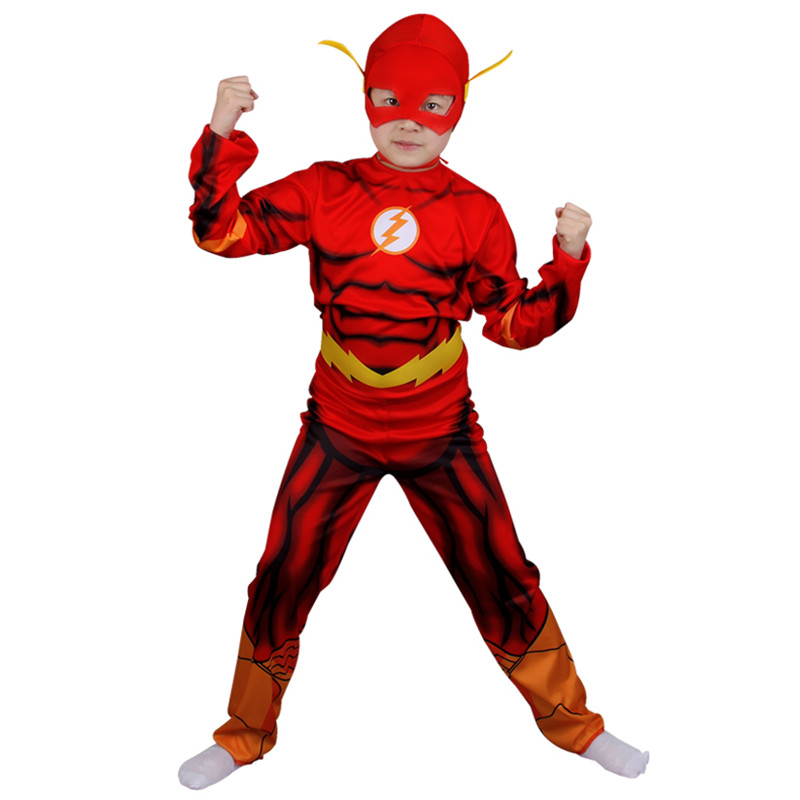 Kids The Flash Muscle Cosplay Costume Movie Comic Muscle Superhero Carnival Party Fancy Dress Child Christmas Birthday Gift