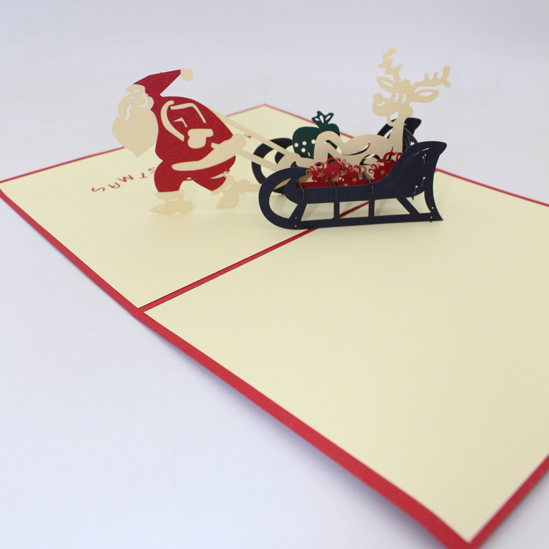 3D Handmade 2019 Christmas Funny Santa Claus Pull Sleigh