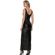 Vestidos New Arrival Fashion Sequins Sexy Front Back Deep V-Neck Bodycon Evening Maxi Dress Split Sheath Party long Dresses 329