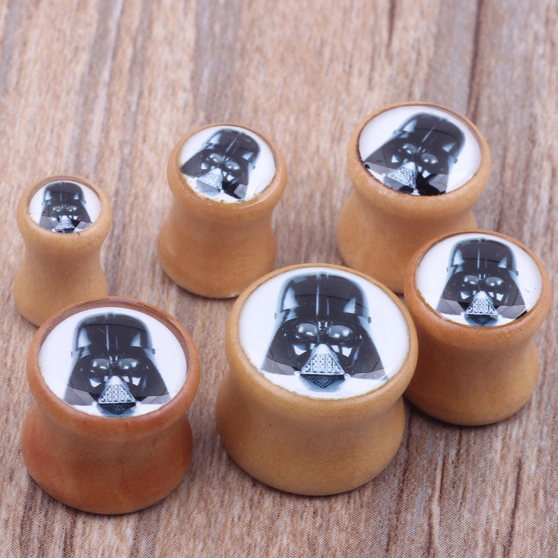 US $3 71 |2pcs/lot Star Wars Logo Wood Ear Gauge Plug And Tunnel Stretcher  Expander 6mm 16mm Body Piercing Jewelry-in Body Jewelry from Jewelry &