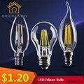 A60 levou Bulbo C35 C35L Edison G80 Lâmpada 2 W 4 W 6 W AC220V Lâmpada Led E27 de Vidro Transparente Da Lâmpada de Iluminação Interior 230 V Levou Filamento lâmpada