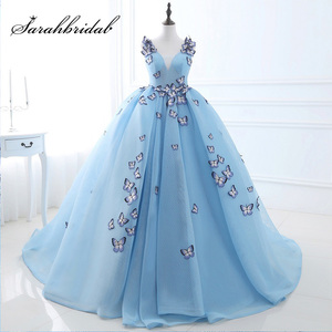 New Arrival Sky Blue Ball Gowns Quinceanera Dresses with Butterfly Appliques Tulle V-Neck Sweet 16 Party Gowns Real Photo SQS071(China)