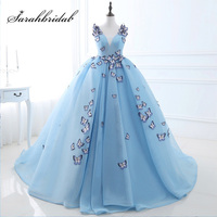 New Arrival Sky Blue Ball Gowns Quinceanera Dresses with Butterfly Appliques Tulle V Neck Sweet 16 Party Gowns Real Photo SQS071