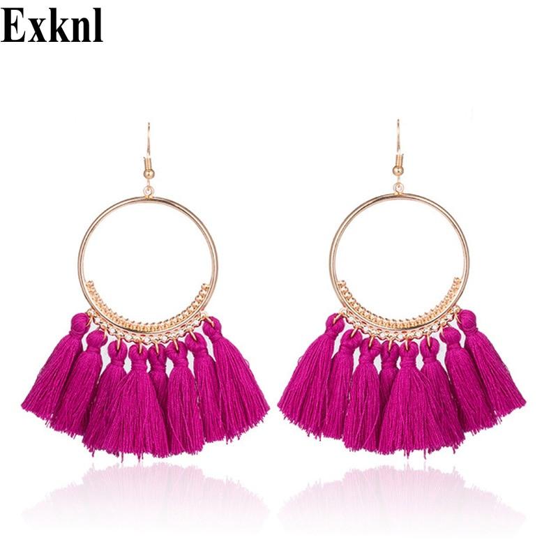 Exknl брендовые серьги с кисточками для женщин Эффектные серьги с бахромой богемные летние серьги для вечеринки модные ювелирные изделия опт...