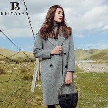 BEIYAYAN Women Wool and Blends Solid Grey Caramels Full Sleeve Coat Turn-down Collar 100% Wool Women Cloth