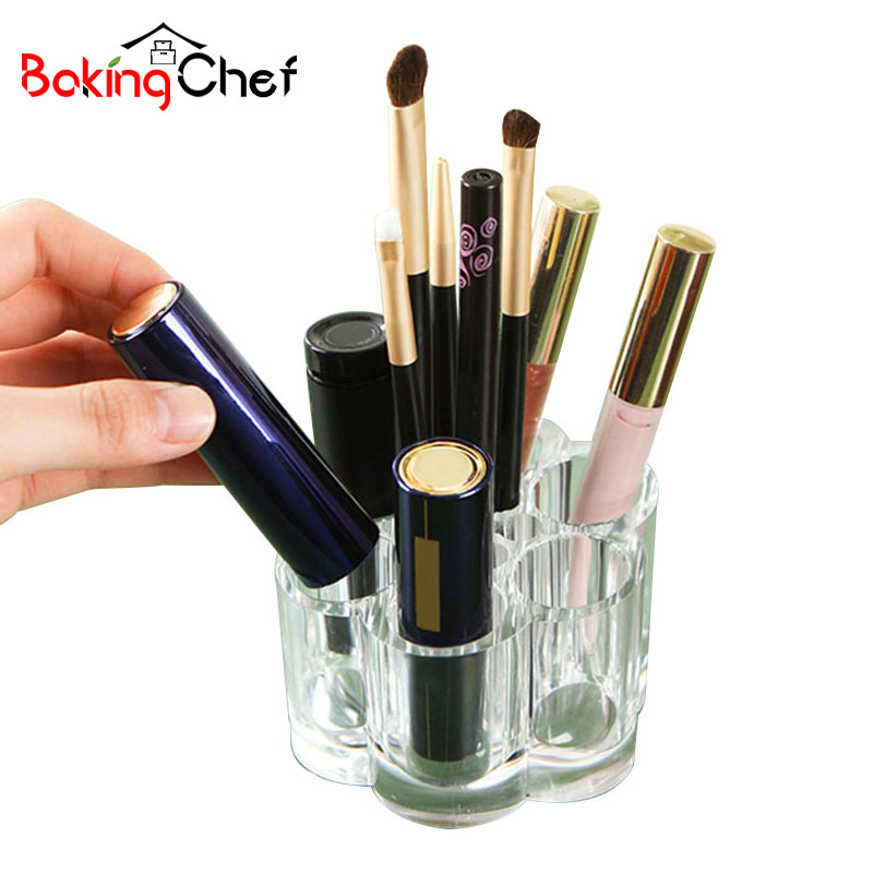 BAKINGCHEF 6 Grid Transparent Makeup Storage Box Tools Cosmetic Desktop Cases Home Organizer Accessories Supplies Gear Items