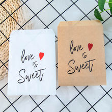 25pcs Kraft Paper Love is Sweet Treat Favor Bags for Wedding Bride Shower Party Decorations Coffee Candy Popcorn Buffet Gift Bag(China)