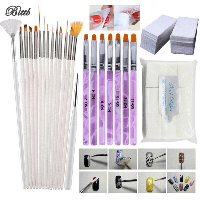 все цены на Bittb 15Pc Painting Brush Pen DIY 7Pc Acrylic Nail Art Brush Set Manicure Nail Remover Cotton Wipes Gel Polish Nail Design Brush онлайн