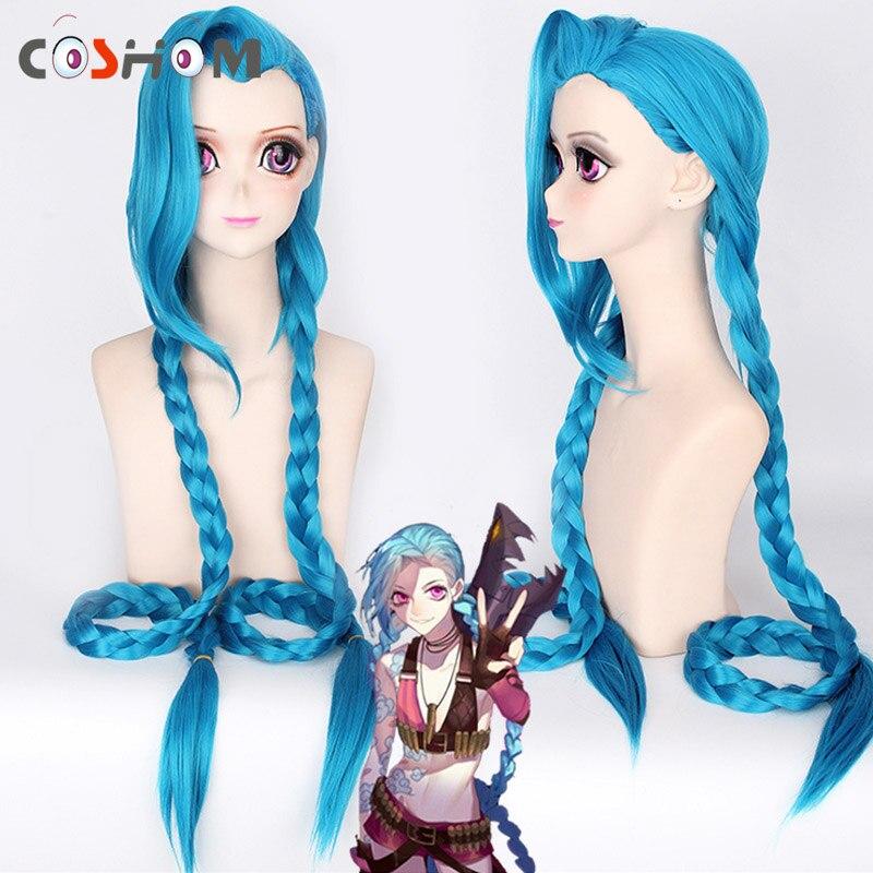 Coshome LOL Jinx Cosplay Perruques Femmes Bleu Double Queue De Cheval Tresses Filles Cheveux Longs 120 cm Pour La Fête D'halloween