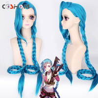 Coshome LOL Jinx Cosplay Wigs Women Blue Double Ponytail Braids Girls Long Hair 120cm For Halloween