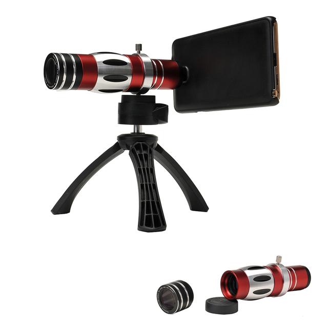 2en1 kit de Lentes para el Teléfono Móvil Zoom Óptico 18X Telescopio y 150x macro lente con el caso y el trípode para iphone 6 plus CL-89