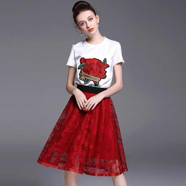 New Women Rose Embroidery White T-Shirt Gauze Lace Red Skirt Suits Summer Clothing Set Brand OLONIYA Design Lady Vestidos S M L