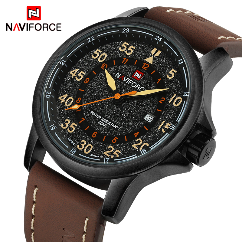 NAVIFORCE Top Luxury Brand Men Sports waterproof Watches Mens Quartz Clock Man Leather Military Wrist Watches Relogio Masculino
