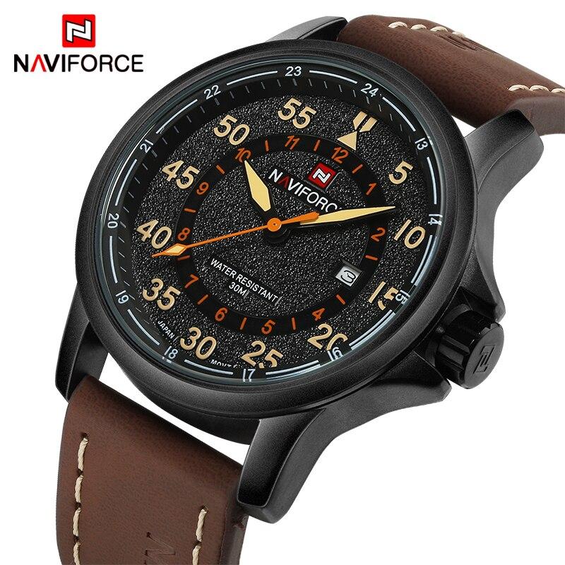 NAVIFORCE Top Luxusmarke Männer Sport wasserdichte Uhren herren Quarzuhr Mann Leder Military Armbanduhren Relogio Masculino