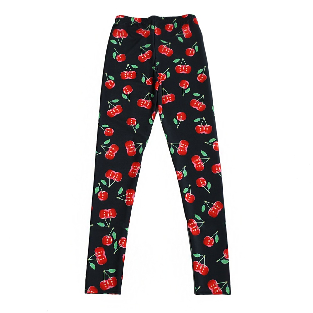 Elastic Casual Pants 3D Digital Printing Cute Cherries Pattern Women Leggings 7 Sizes Fitness Clothing Free Shipping