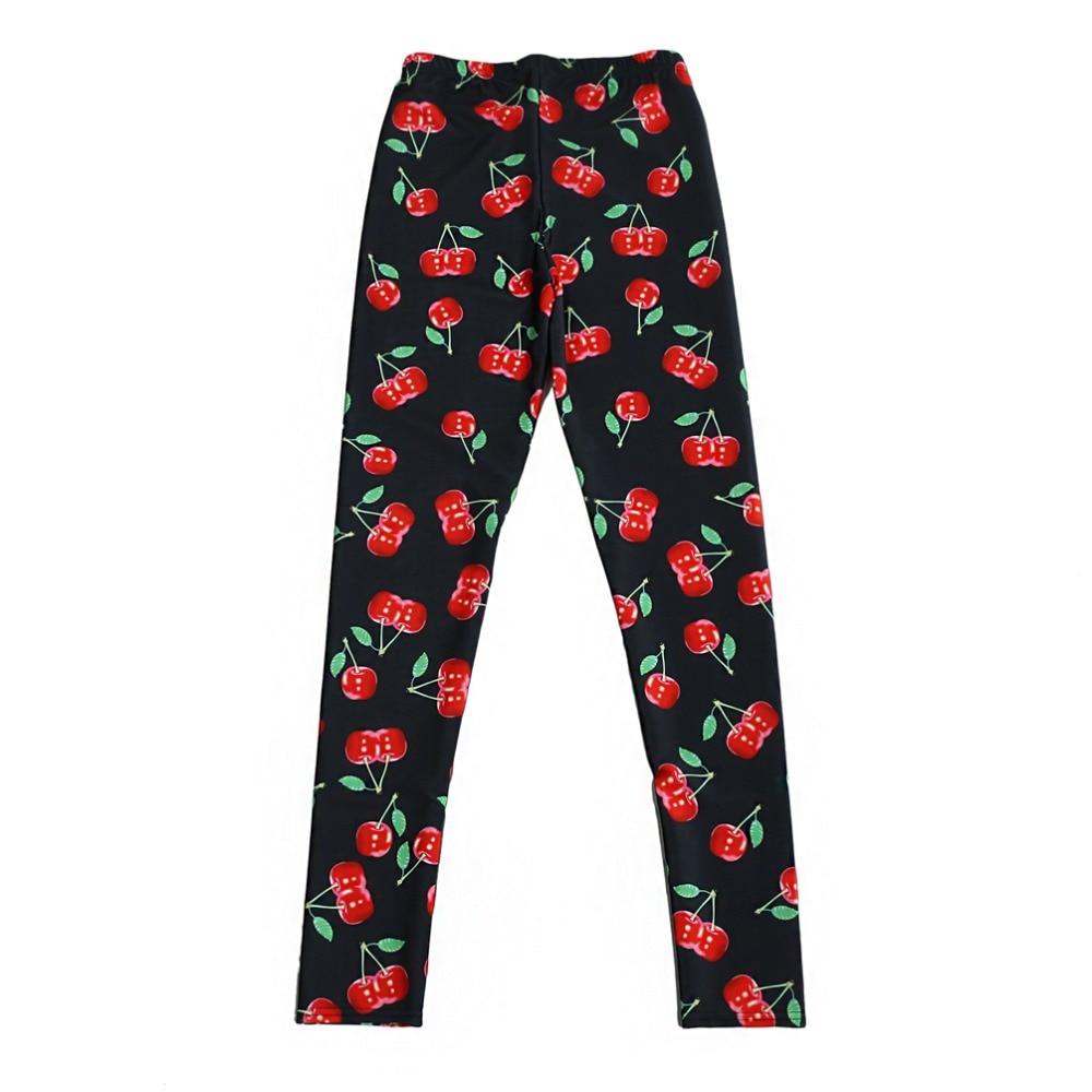 Elastic Casual Pants 3D Digital Printing Cute Cherries Pattern Women Leggings 7 Sizes Fitness Clothing Free Shipping