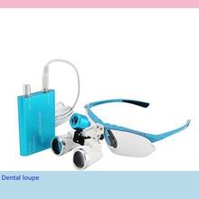 CE Доказал Стоматологическое Оборудование Хирургическое Медико-Стоматологический Лупы Стоматологические Очки 3.5X420 мм + LED Головной Свет Лампы (синий)