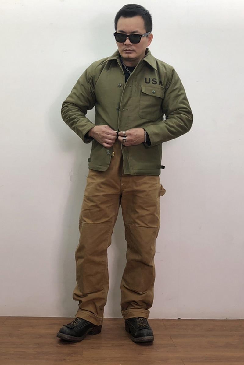 USN A-2/A2 Navy Deck Jacket Wet Weather Parka WW2 Deck Suit Military US Army Mens Lamb Velvet Jackets N-1 Vintage Coat S-2XL