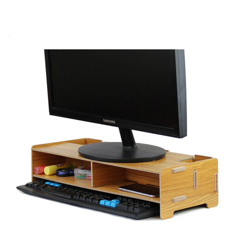 Office LCD computer rack monitor screen overhead desk multilayer storage rack keyboard support bracket wood document trays