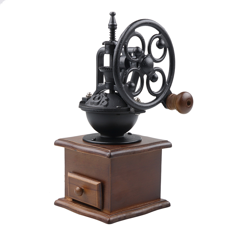 Vintage Manual Coffee Grinder Wheel Design Retro Style Wooden Coffee Bean Mill Grinding Machine manual coffee bean grinder retro wooden design mill maker grinders retro coffee spice mini burr mill with high quality ceramic m