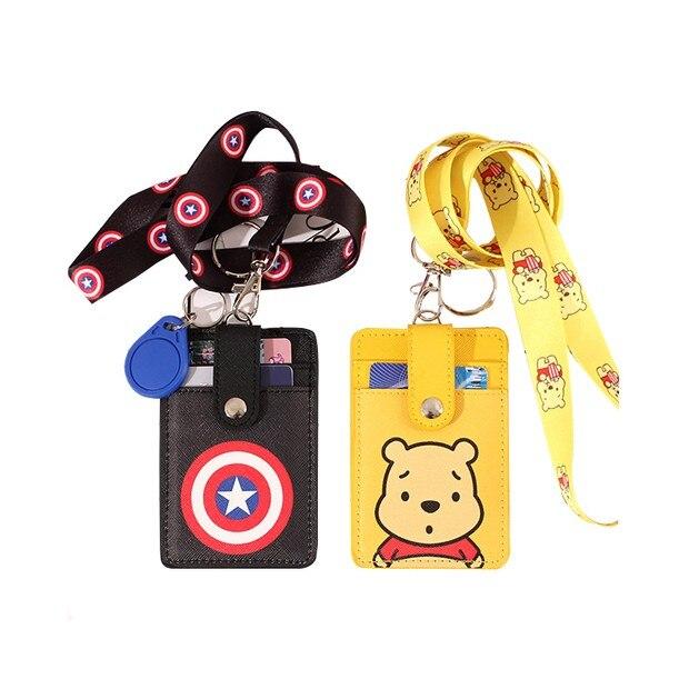 1pcs Cartoon Lanyard Student Lovely Keychain Pu Card Holder Id Badge Case Student Nurse Bank Credit Card Holders Id Badge Holder